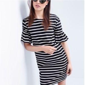 J. Crew Ruffled Bell Sleeve Striped Dress B&W